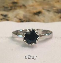 NWT $2450 ROBERTO COIN 18K White Gold & Blue Sapphire Solitaire Ring Sz 6.5