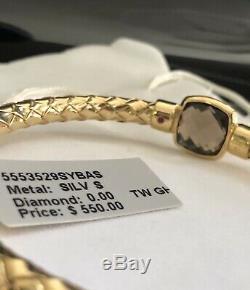 NWT $550 ROBERTO COIN Fifth Season 18K Gold Plate Woven Smoky Quartz Bangle RARE