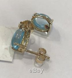 NWT $700 ROBERTO COIN Blue Topaz 18K Gold Cocktail Stud Earrings