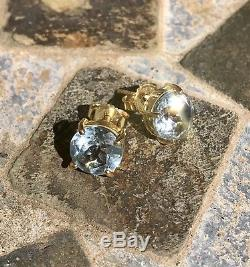 NWT $700 ROBERTO COIN Blue Topaz Shanghai 18K Yellow Gold Round Stud Earrings