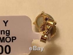 NWT $700 ROBERTO COIN Shanghai 18K Gold MOP & Topaz Small Stud Earrings