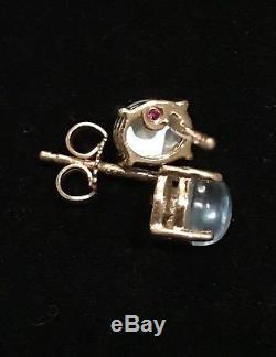 NWT $700 Roberto Coin Shanghai 18K Gold MOP & Blue Topaz Stud Earrings