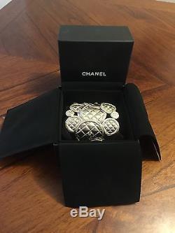 NWT CHANEL $1375 2015 runway Gold Coin Quilt Medallion CC CUFF Bracelet Bangle