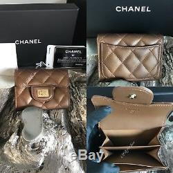 NWT CHANEL 2018 Bronze Reissue 2.55 Flap Card Holder Case XL BACK POCKET GOLD
