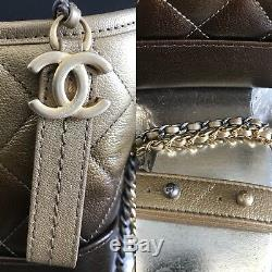 NWT CHANEL 2018 Gabrielle Small Hobo Bag Gold Bronze Ombré Metallic Brown 18A