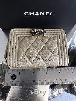 NWT CHANEL Iridescent Pearly Gold Caviar Boy Zip Wallet O-Coin Card Holder 2017