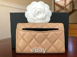 NWT Chanel Coin Card Holder Beige Caviar with Gold Hardware Classic Bag Sold out