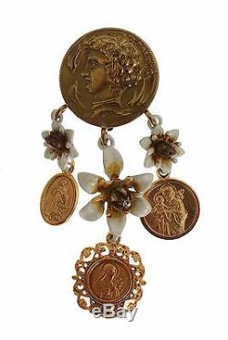NWT DOLCE & GABBANA Earring Gold Roman Coin Crystal Religious Clip On Dangling