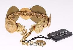 NWT DOLCE & GABBANA Gold Brass MONETE Roman Coin Bangle Bracelet Cuff Chain