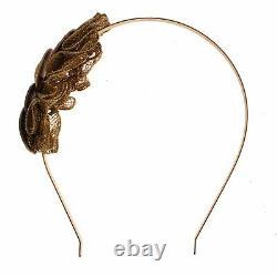 NWT DOLCE & GABBANA Gold Brass Roman Coin Sicily Lace Headband Hair Diadem