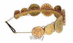 NWT DOLCE & GABBANA Gold Crystal MONETE Roman Coin Runway Headband Hair Diadem