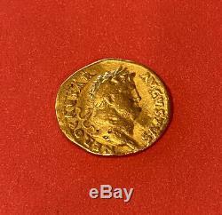 Nero Gold coin Aureus 19 mm, 7.11g, Rome, c. NERO as CAESAR/ Salus. Roman coin
