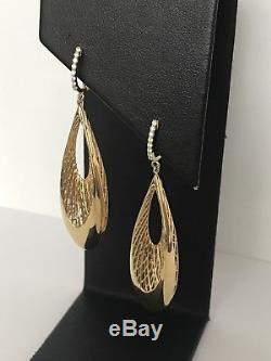 New Auth. 18kt Yellow Gold Golden Gate diamond Teardrop Earrings Roberto Coin