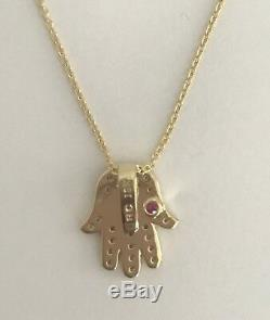 New Authentic 18kt Tiny Treasures 0.18 ct Diamond HAMSA Necklace-Roberto Coin