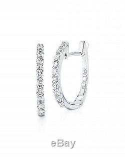 New Authentic 18kt White Gold Baby Diamond Hoop Earrings by Roberto Coin
