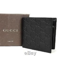 New Authentic Gucci Mens Black Guccissima Leather Wallet withCoin Pocket 150413