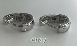 New Authentic Roberto Coin 18kt White gold huggy diamond 0.14 ct wrap earrings
