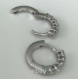 New Authentic Roberto Coin 18kt White gold single line diamond 0.70 ct earrings