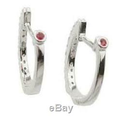 New Authentic Roberto Coin 18kt white gold baby diamond 0.20 ct hoop earrings