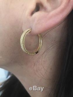 New Authentic Roberto Coin 18kt yellow gold 20mm Symphony Barocco hoop earrings