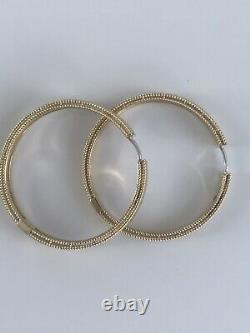 New Authentic Roberto Coin 18kt yellow gold 30mm Symphony Barocco hoop earrings