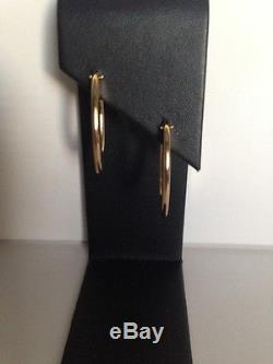 New Authentic Roberto Coin 18kt yellow gold Oval Flat Chic N Shine Hoop earrings