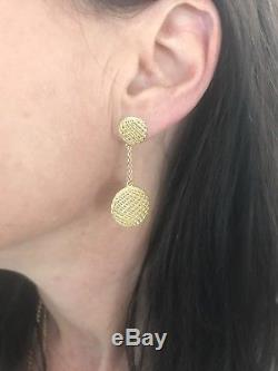 New Authentic Roberto Coin 18kt yellow gold silk drop button earrings