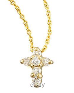 New Authentic Tiny Treasures Diamond Yellow Baby Cross Necklace-Roberto Coin