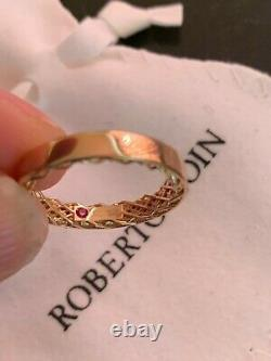 New Roberto Coin 18K Rose Gold Symphony Golden Gate Ring Size 6.75
