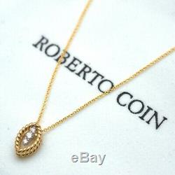 New Roberto Coin 18K Yellow Gold New Barocco Diamond Pendant 18 Necklace