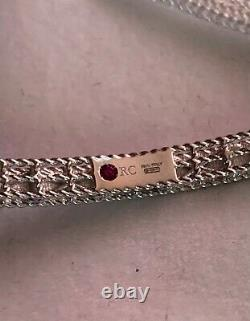 New Roberto Coin 18K white gold Symphony Barocco Princess bangle bracelet
