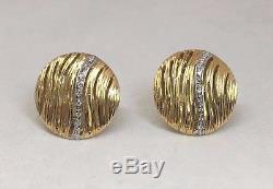 New Roberto Coin Elephantino Diamond 18k White/Yellow Gold Round Earrings Italy