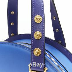 New VERSACE Tribute Medallion gold Medusa coin blue satchel bowling bag