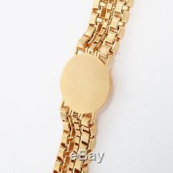 New VERSACE brushed gold Medusa baroque medallion coin triple chain bracelet