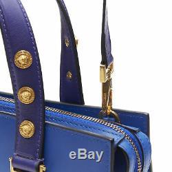 New VERSACE cobalt blue gold Medusa coin stud bondage strap satchel tote bag