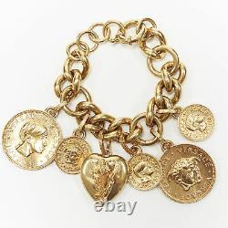 New VERSACE gold plated Medusa medallion coin V-Mine Heart charm chunky bracelet