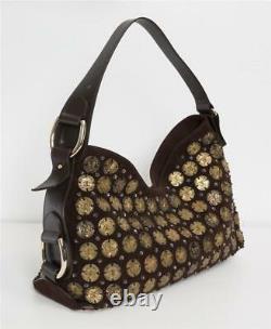 OSCAR DE LA RENTA Brown Suede Embellished Bronze Coin Hobo Bag Handbag NEW