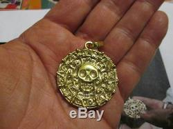 PIRATES CARIBBEAN CURSE OF AZTEC SKULL COIN-Yellow GOLD 18 K-artisan product