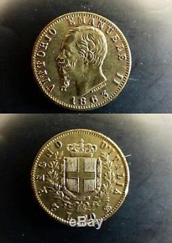 Pièce coin ITALIE ITALY ITALIA 20 lire 1863 VITTORIO EMANUELE II OR ORO GOLD
