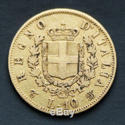 Pièce de Monnaie en Or Italie 10 Lires Victor Emmanuel II 1863 Gold Coin Italy