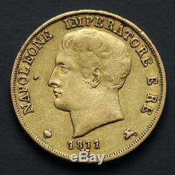 Pièce or Italie 20 lire Napoléon Ier 1811 Milan Napoleon gold coin Italy Rare