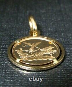 Pietro Giampaoli Virgo Zodiac Unoaerre Angel 18KT Rose Gold Coin Pendant