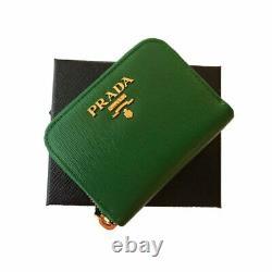 Prada Verde Green Saffiano Leather Gold Zip Coin Purse Wallet 1MM268