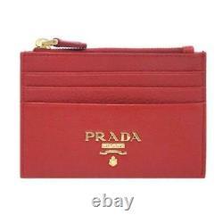 Prada Womens Vitello Grain Rosso Red Leather Gold Logo Zip Top Card Case 1MC026