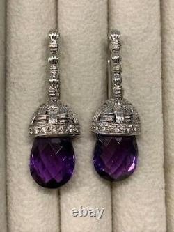 Pristine Roberto Coin 18K White Gold, Diamond, And Amethyst Drop Earrings