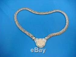 Pure Gold $10 Liberty Coin In 14k Yellow Gold Necklace With Diamonds, Italy, 17
