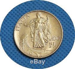 Rare Italy 1931 X. E. F 100 Lire Gold Coin