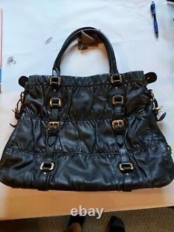 RARE Prada Milano Black Purse Handbag Many Gold Tone Buckles Tessuto Gaufre