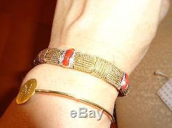 RARE Roberto Coin Opera 18K Gold 1.35 cts Fine Pavé Coral/Diamond Bracelet