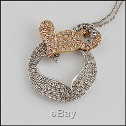 RDC10616 Authentic Roberto Coin 18K White & Rose Gold Diamond Hearts Necklace